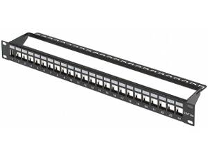 Patch panel pre keystone konektory 24x Rack 19""