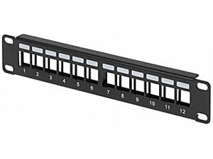 Patch panel pre keystone konektory 12x Rack 10""