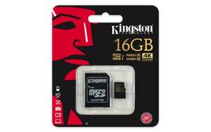 Karta microSDHC Kingston Class U3 UHS-I + adaptér, 16GB